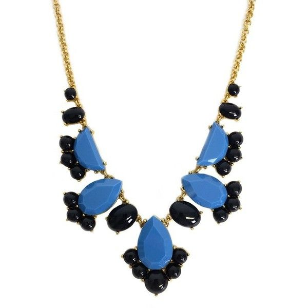 Pre-owned Kate Spade Blue Drop Gem Necklace ($49) ❤ liked on Polyvore featuring jewelry, necklaces, blue, blue statement necklaces, chain jewelry, blue gem necklace, bib statement necklaces and adjustable necklace
