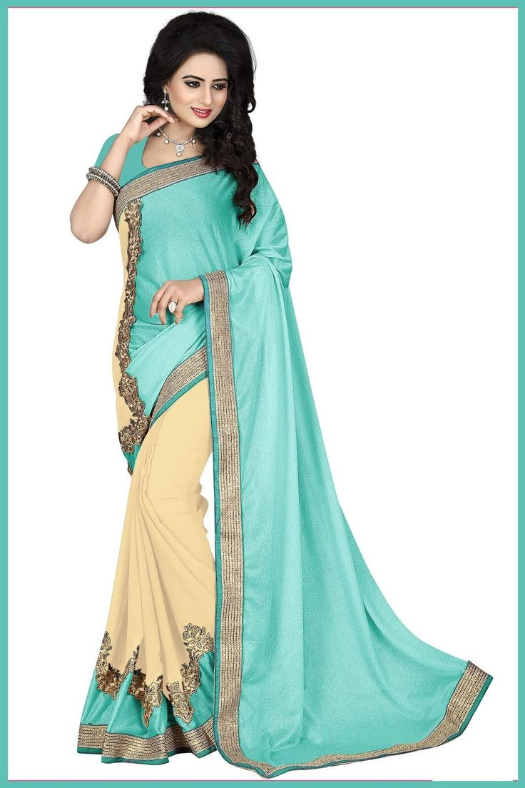 Sky Blue and Cream Colour 60Gm Georgette Lycra Party Wear Saree Buy Sarees