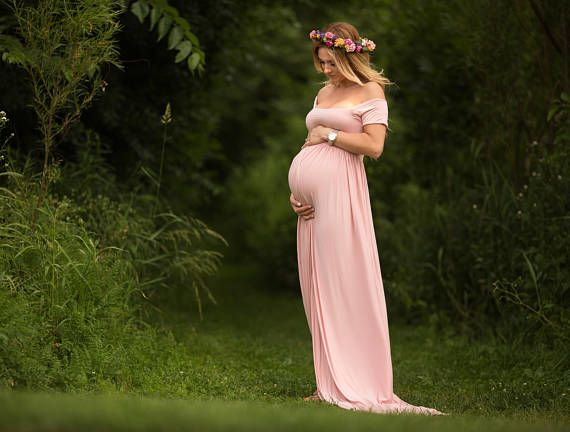 Short Sleeve Maternity Dress for Photo Shoot-Maternity Gown-Long Maternity Gown-Maxi Gown-NO SPLIT FRONT-Straight Neckline-Baby Shower Dress, pregnancy dress, pregant, outfit, summer dress, baby girl, pink, photo shoot, pregnancy photo, afflink