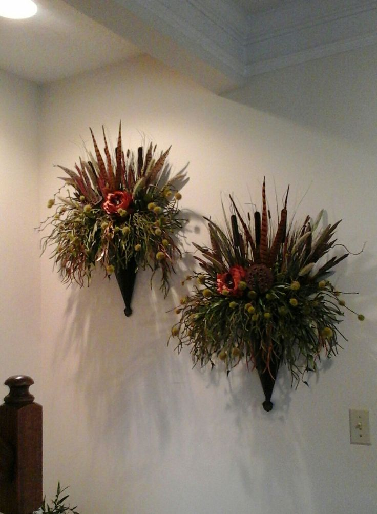 245 best Wreaths,Swags Wall Planter Sconce images on ... on Flower Wall Sconces id=93232