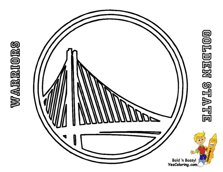 golden state warriors basketball logo coloring page - Basketball Coloring Page