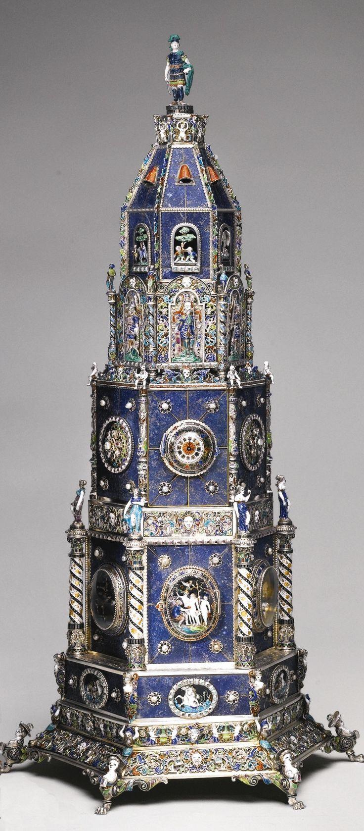 A lapis lazuli clock tower with enamelled pearl-set silver-gilt mounts, Hermann Böhm, Vienna, circa 1880 | lot | Sotheby's
