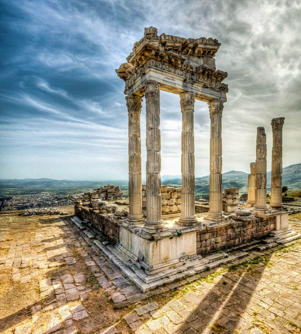 Pergamon, Bergama, Turkey. The magnificent spot was built by ancient Greeks in 399 BC and became the capital of the Kingdom of Pergamon in 281–133 BC. Pergamon gives a glimpse of the greatness of it: the rich city used to impress with architectural monuments. Today the ruins of the historical city are widely visited by tourists.