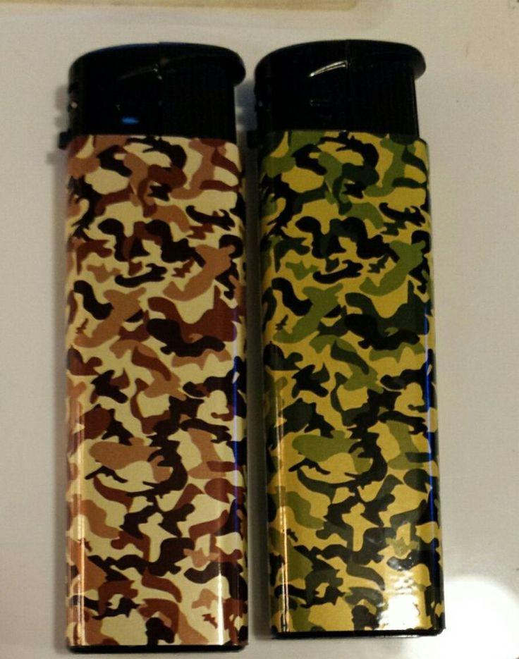 Electronic butane refillable lighters 2camo greenbrown