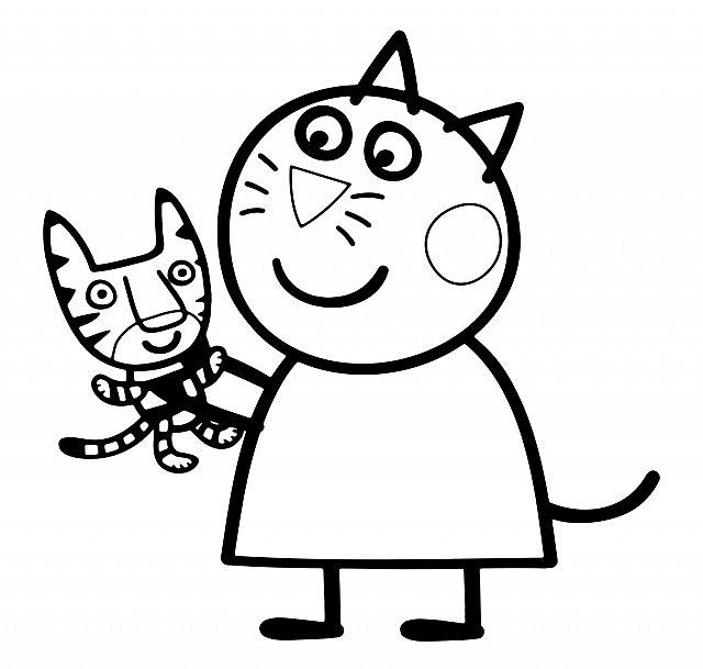 Candy gatto amica di Peppa Pig con pupazzo disegno da colorare gratis