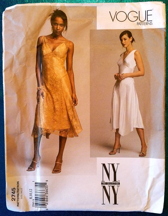 pattern pieces! Vogue NY Collection 2745 (c. 2003) dress and slip sewing by kwirkykiwi
