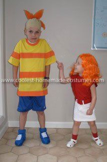 coolest phineas and candace flynn kids couple costume - Phineas Halloween Costume