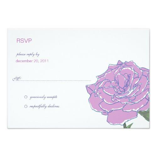 Rose Wedding RSVP Purple Simple Rose Wedding RSVP Reply Cards
