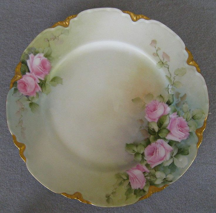 6 Antique Haviland Limoges Cabinet Plates Hand Painted Roses, Violets, Flowers