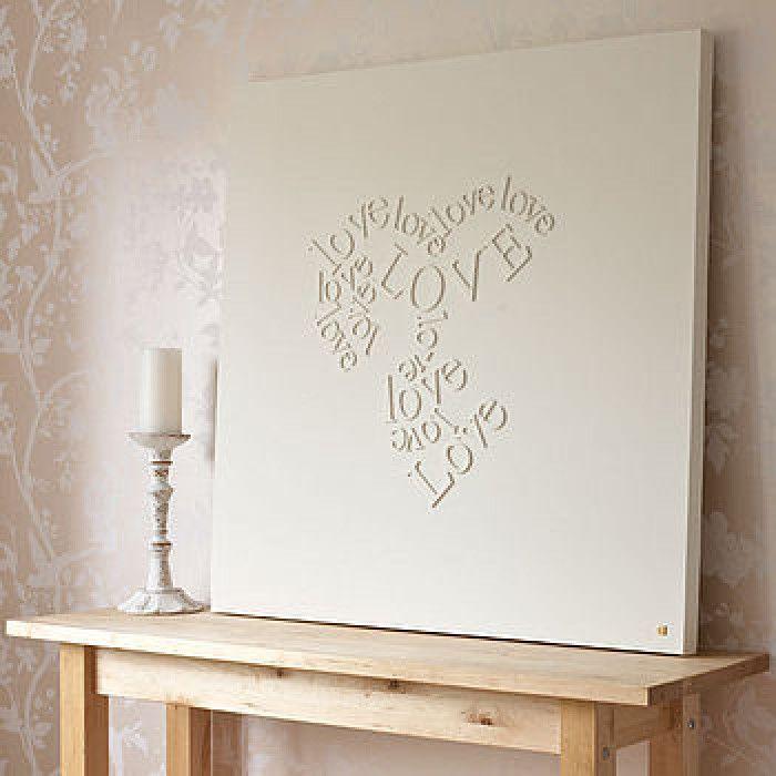 houten letters op canvas en schilderen.  Ook leuk om met mooie tekst te doen.