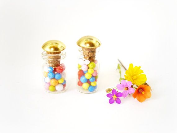 x2 Miniature Candy Sprinkles Bottles Rainbow Sweet by ShopToCreate