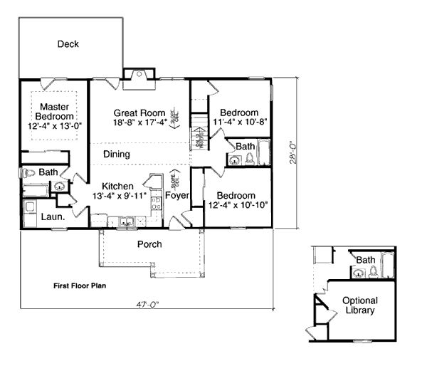 first floor plan of bungalow plan 97730 very similar to what habitat for humanity uses