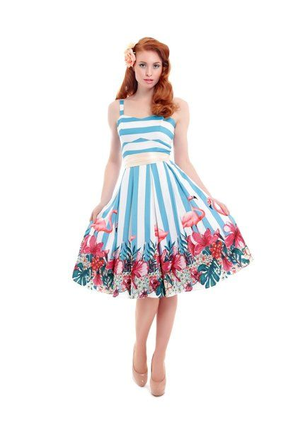 Collectif Antoinette Striped Flamingo Dress