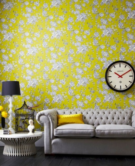 Yellow floral wallpaper | Yellow flower wallpaper | Kensington | Graham & Brown