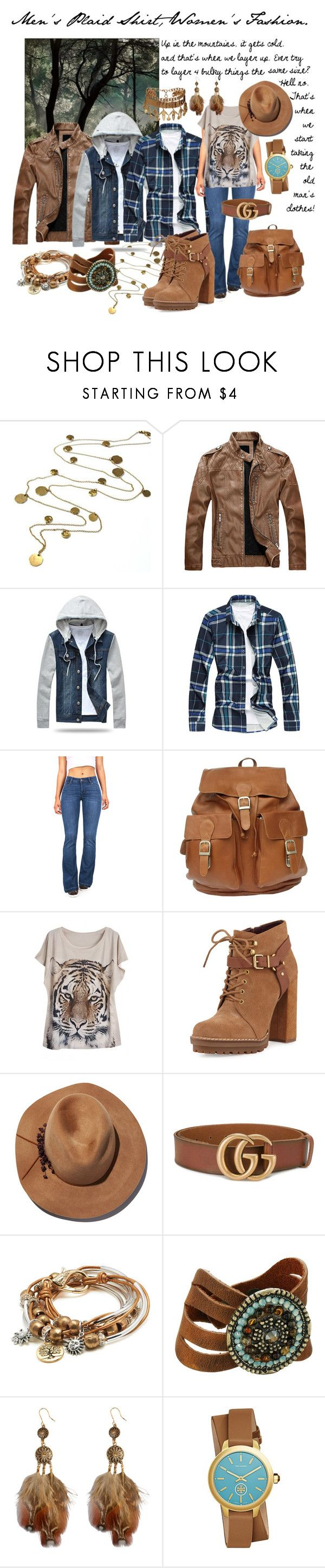 """""""men's plaid shirt, women's fashion"""" by caroline-buster-brown ❤ liked on Polyvore featuring Boutique by Jamie, Celebrity Pink, Piel Leather, WithChic, BCBGeneration, Eugenia Kim, Gucci, Lizzy James, Leatherock and Tory Burch"""