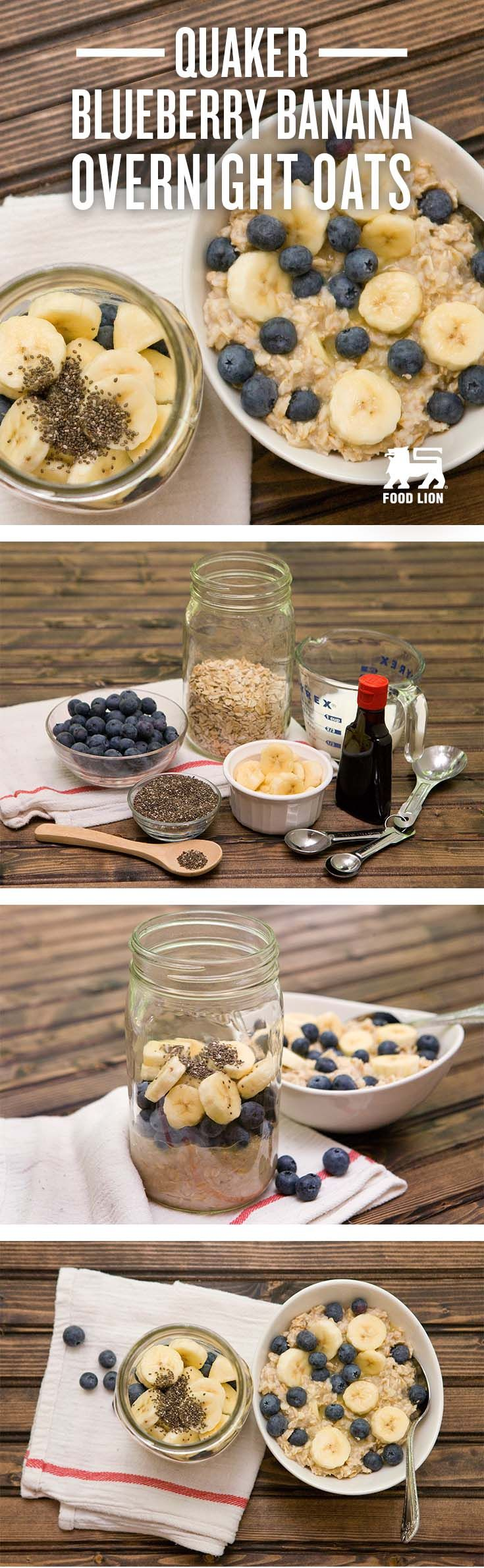 An easy prepping of Blueberries and Banana Overnight Quaker® Oats is extremely rewarding for a delicious and healthy kick-start to your day, every day.