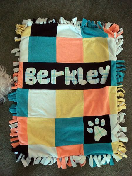 Personalized tie blanket/dog bed for dog...