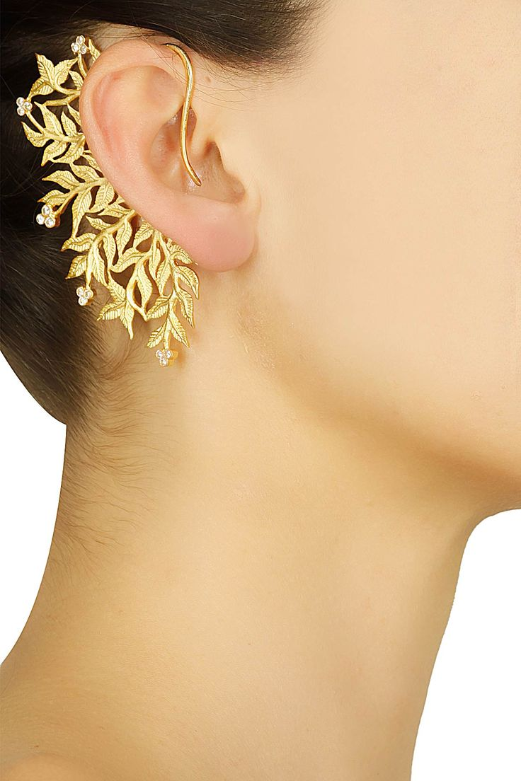 Gold plated leaf design earcuffs available only at Pernia's Pop Up Shop.