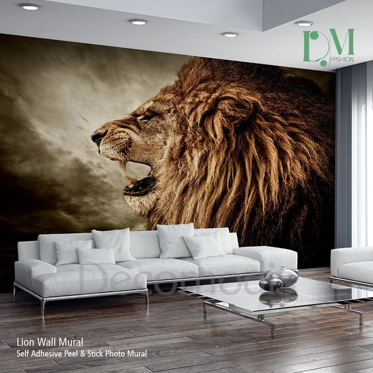 Lion Wall Mural, Wild lion e Self Adhesive Peel