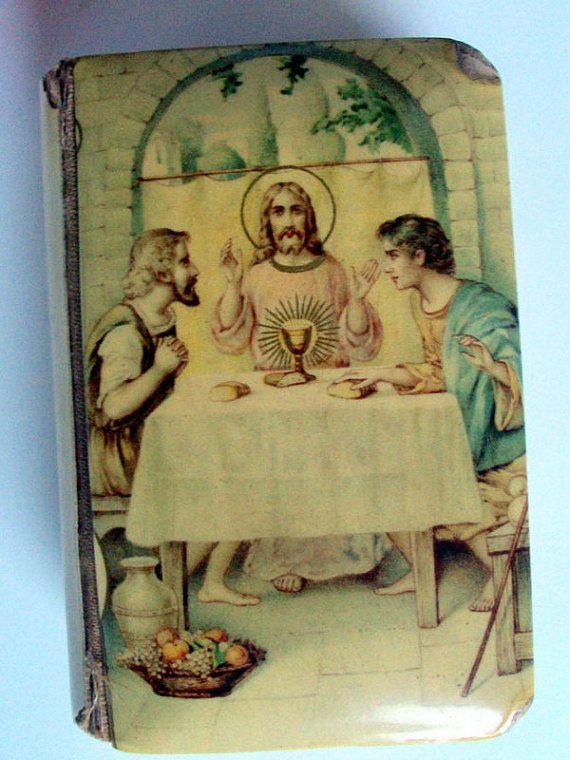 Vintage Catholic Prayer Book,Celluloid ,Jesus Last Supper,Crucifix,Czechoslovakia,1921,Key Of Heaven,Patrick Hayes Archbishop of New York