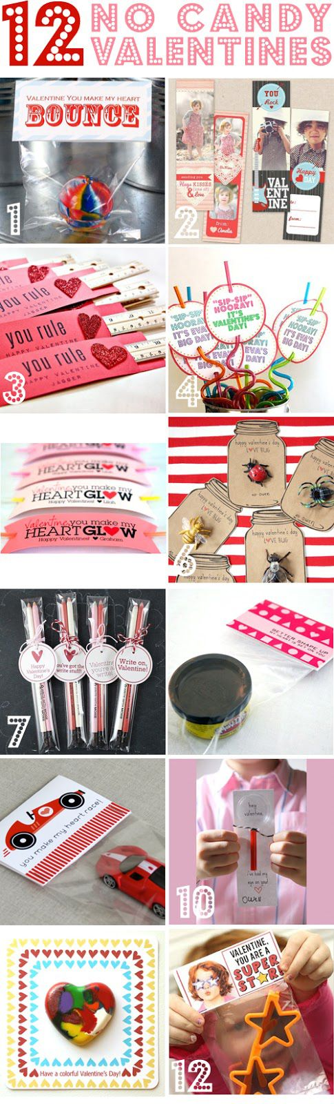 12 No-Candy Valentine Ideas for Kids~  Great alternative to store-bought or sweet treats!