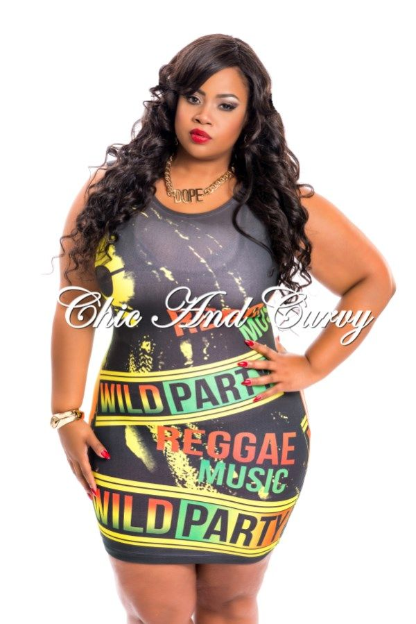 New Arrival New Plus Size Mini Dress in Jamaican Wild ...