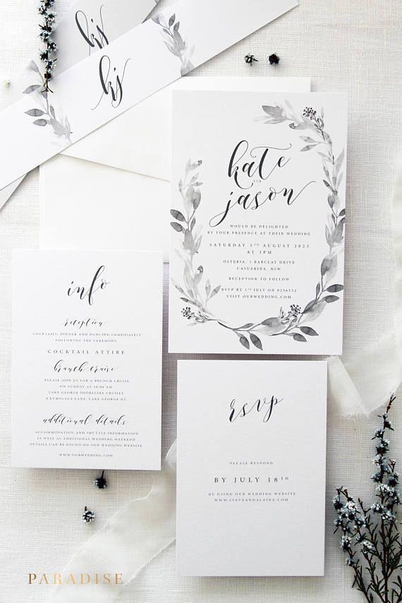 Claudia Wreath Wedding Invitation Sets Monogram Invitation