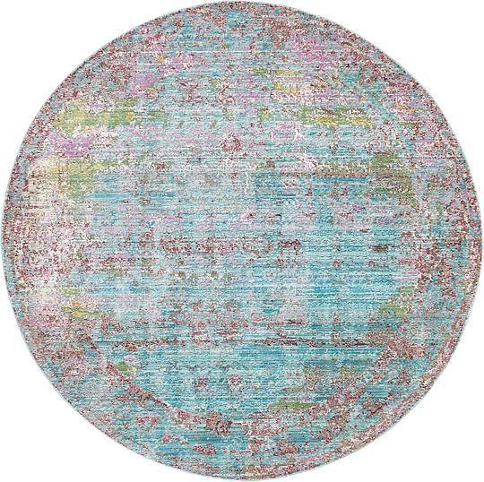 Blue 6' x 6' Aqua Round Rug | Area Rugs | eSaleRugs
