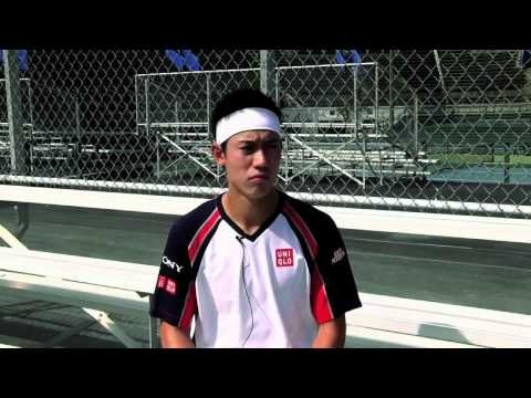 Kei Nishikori conveniently forgets how to speak English when asked about the legality of his Wilson Steam tennis racket