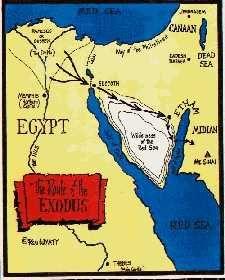 Route Exodus-Vele jaren gingen voorbij. Beschavingen ontwikkelden zich. Oorlogen verwoeste landen en er volgden perioden van vrede, tijdens welke de metselaars zowel natuursteen als met baksteen bouwden. Toen leidde Mozes, die de wetenschap van de Egyptenaren had geleerd, zijn volk weg uit Egypte, naar de dorre Sinaïwoestijn.