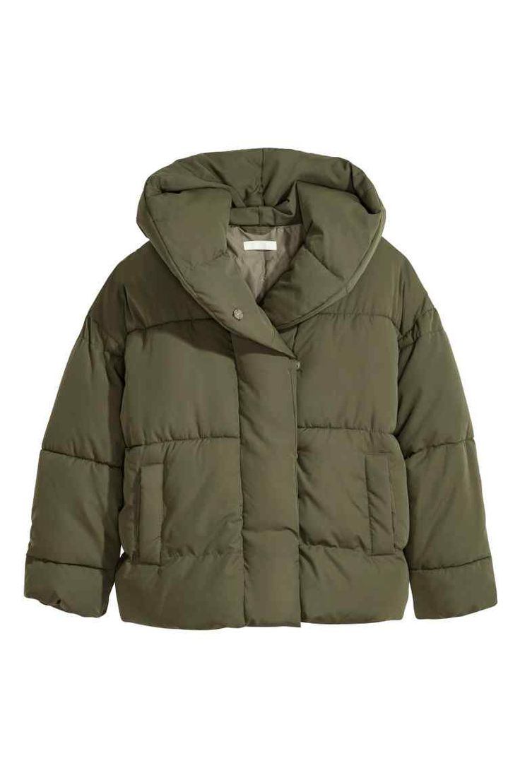 Padded jacket with a hood - Khaki green - Ladies | H&M GB 1