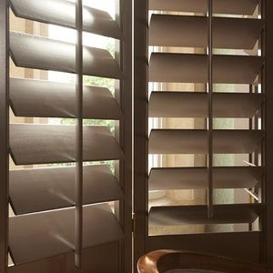 New England Plantation Shutters: Full Height 89mm Blades Painted brown
