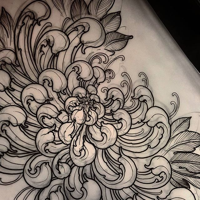 Curly ornate chrysanthemum. Available to be tattooed ...