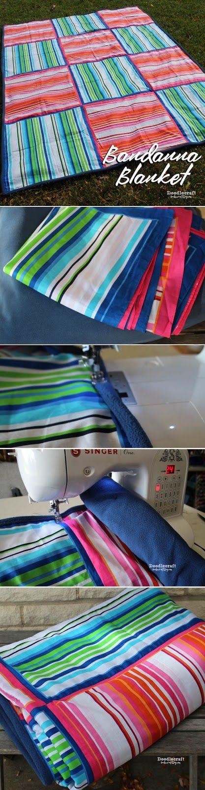 Easy bandana blanket with fleece backing!