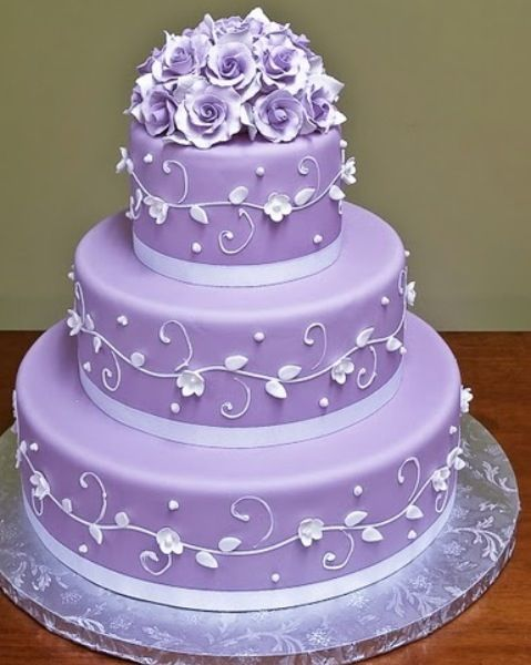 Purple lavender diamond simple elegant tiered beautiful wedding/birthday cake