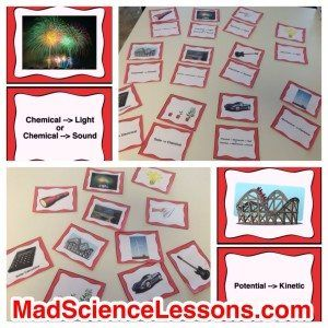 Energy Transformations Card Sort or Lab Activity
