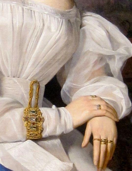 "Detalle del ""Retrato de la Condesa Szechenyi"".  Ferdinand Georg Waldmuller (1793-1865)."