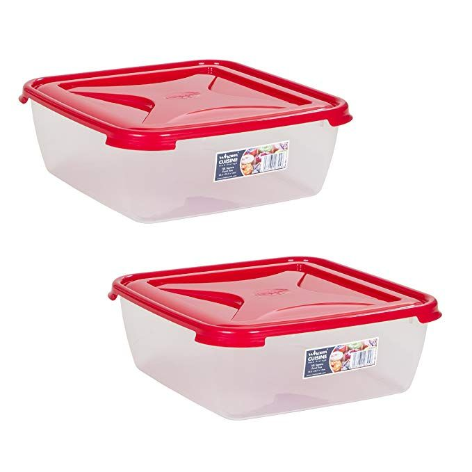 Wham Bpa Free Plastic Home Office Kitchen Food Storage Box With Chilli Red Lid Set Of 2 10litre In 2020 Food Storage Boxes Kitchen Food Storage Storage Box