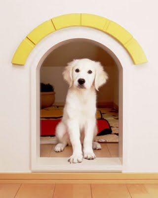 adorable built in doghouse