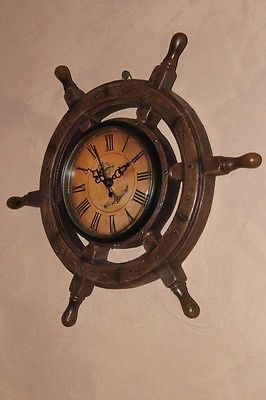 New Ships Wheel Clock Nautical Marine Maritime Pirate Decor 11"