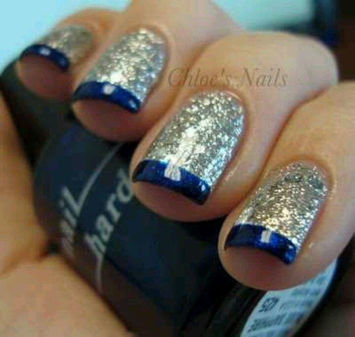 Tip Silvers: Silver Glitter Nails & Dark Blue Tips