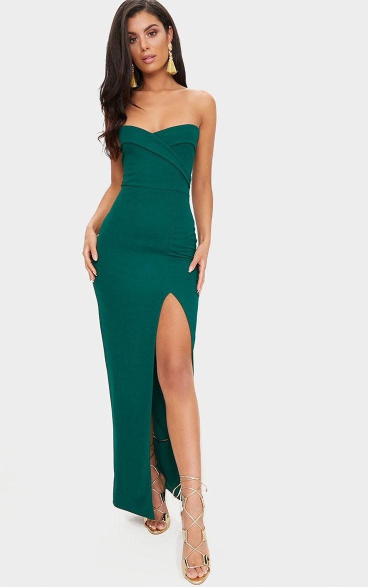Emerald Green Bandeau Folded Detail Extreme Split Maxi Dress