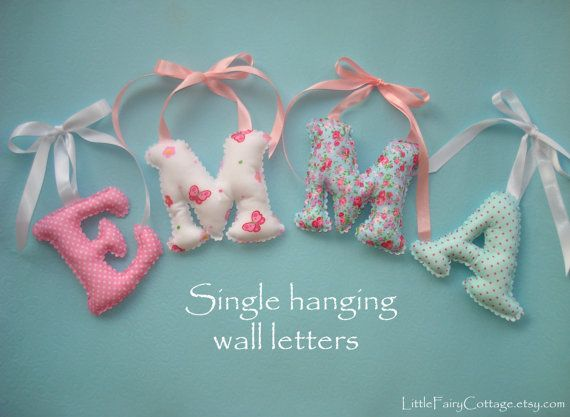 Hanging Letter/s, Shabby Chic Fabric letters, girl's room name wall decor - Pick the color pattern, Baby Girl Name Wall Art