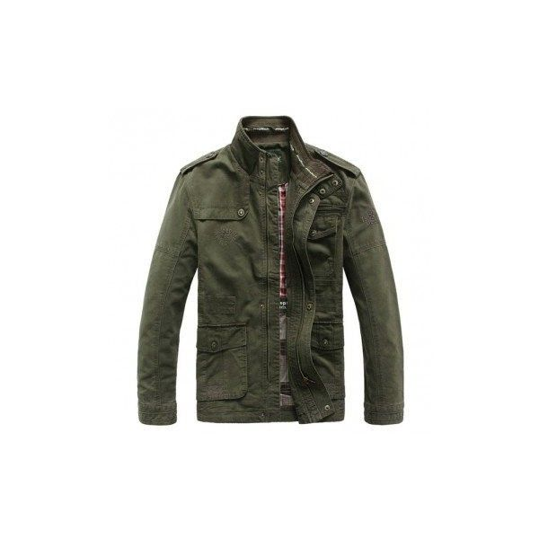 Jeep Rich Plus Size Military Epaulets Outdoor Stand Collar Casual... ($61) ❤ liked on Polyvore featuring men's fashion, men's clothing, men's outerwear, men's jackets, army green, men's stand collar jacket, mens green military jacket, mens olive green military jacket, mens zip jacket and mens short sleeve jacket