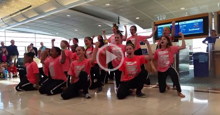 This middle school dance team definitely earned their way onto their flight. ✈️