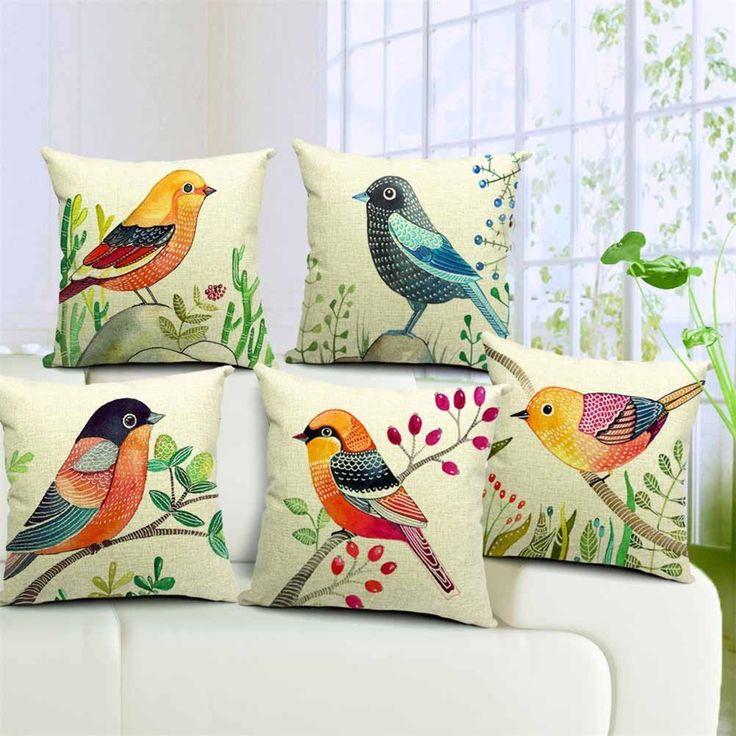"Amazon.com - Dreamcolor 18x18"" Cotton Linen Bird Pattern Decorative Throw Pillow Cover(ZBZ029-3) -"