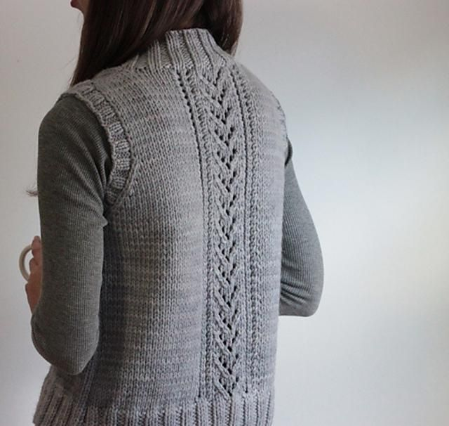 Nordic trail is a woman's seamless vest, worked from the bottom-up using bulky-weight yarn and featuring easy lace panels. This pattern is very detailed and would be perfect for a beginner or advanced beginner knitter who is relatively new to lace work and prefers instructions to be written out in detail (although more advanced knitters will enjoy it as well!). All of the armhole shaping instructions are broken out by size to make pattern reading even clearer. Pattern Details:Finished Bust…