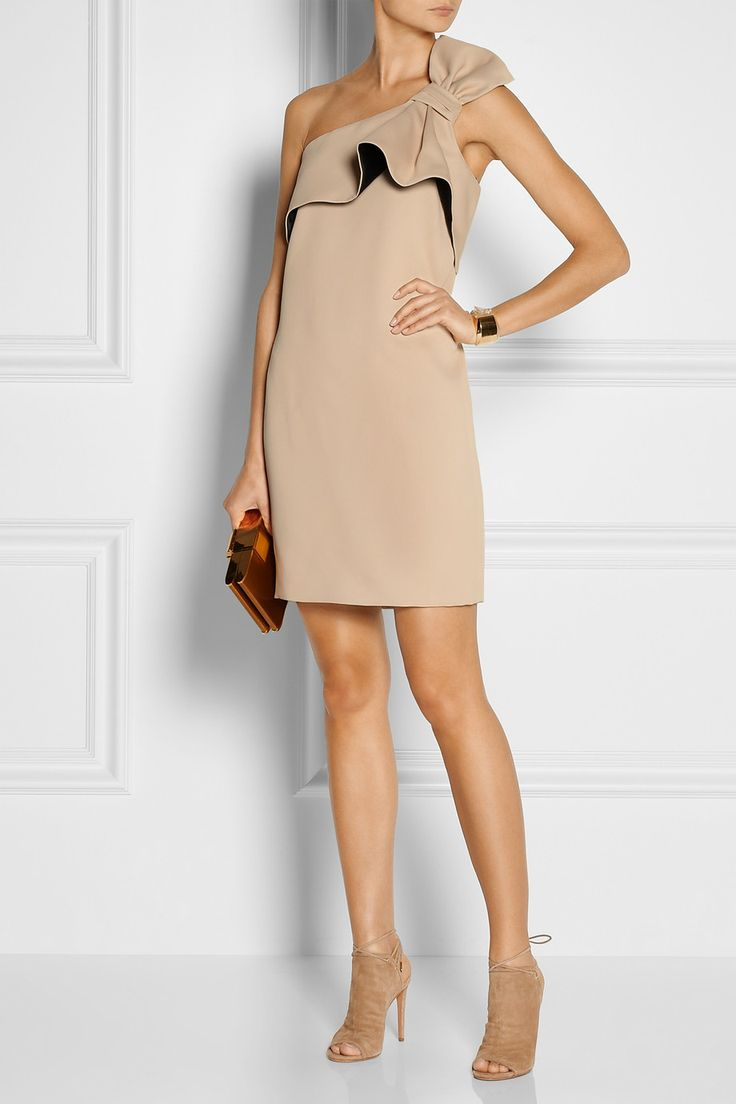 HALSTON HERITAGE Bow-embellished twill mini dress $375 Take a purist approach to evening elegance with Halston Heritage's cleanly cut twill mini dress. The neckline is trimmed with a sculptural bow-effect ruffle and has internal gumming for a slip-free fit. The muted palette is right on trend - continue the look with nude pumps.   Shown here with: Chloé bracelet and ring, Aquazzura shoes, Lanvin clutch.