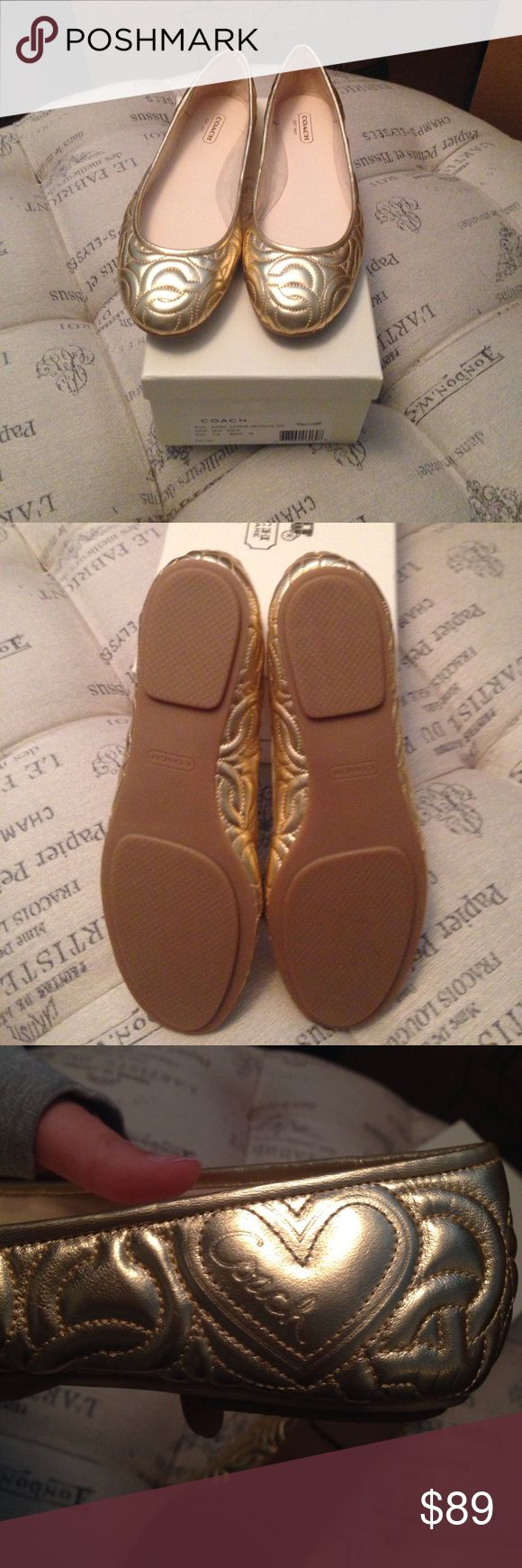 Brand New in box gold Coach flats size 7.5 Brand New in box gold Coach flats size 7.5 Coach Shoes Flats & Loafers