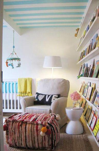 Like the painted ceiling: Bookshelves, Idea, Striped Ceiling, Nurseries, Kids Room, Book Shelves, Nursery, Baby Room